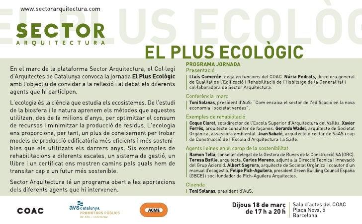 4A Sessió de Sector Arquitectura: El Plus Ecològic