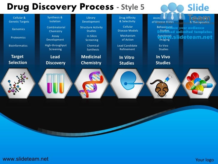 Drug Discovery Process - Style 5    Cellular &       Synthesis &          Library           Drug Affinity    Animal Models...