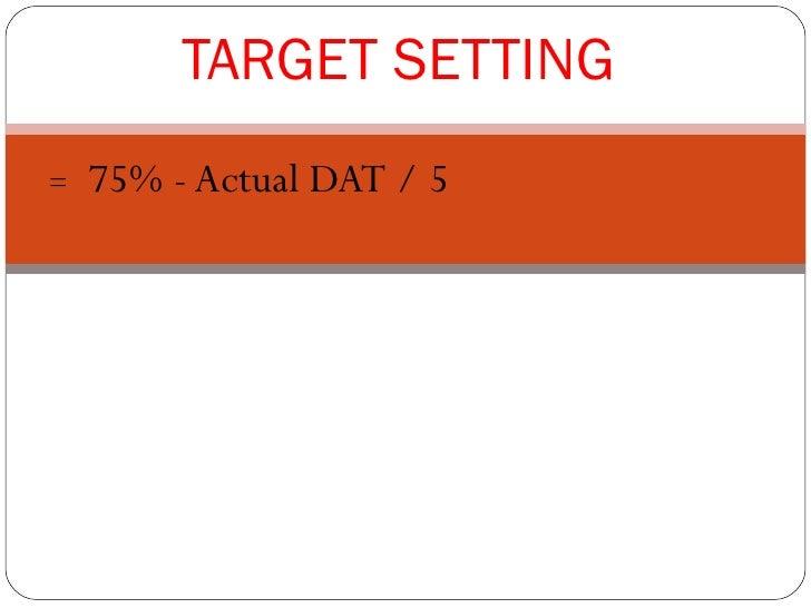 TARGET SETTING=   75% - Actual DAT / 5