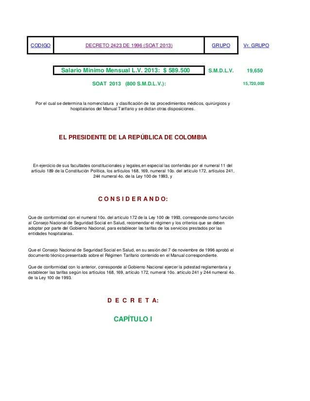 Tarifas SOAT 2013 Salud