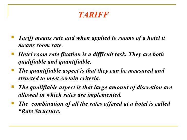 Hotel Room Tariff