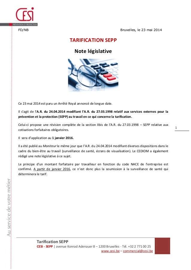 Tarification SEPP CESI - SEPP | avenue Konrad Adenauer 8 – 1200 Bruxelles - Tél. +32 2 771 00 25 www.cesi.be – commercial@...