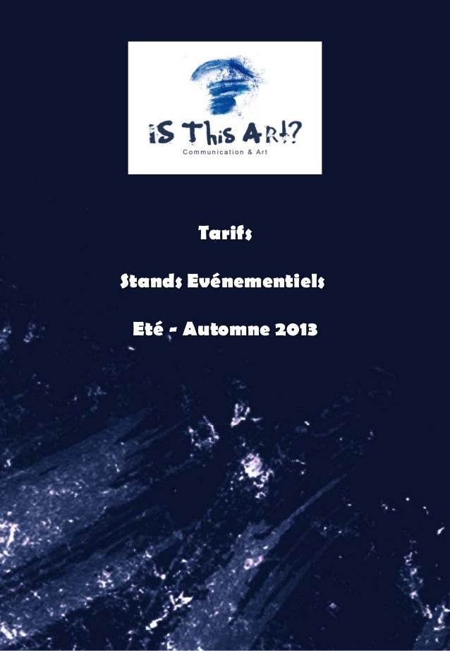 Tarifs Stands Evénementiels Eté - Automne 2013