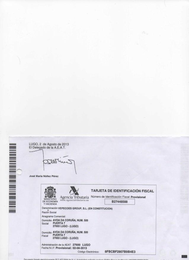 Tarjeta de identificación fiscal vepecoes group sl
