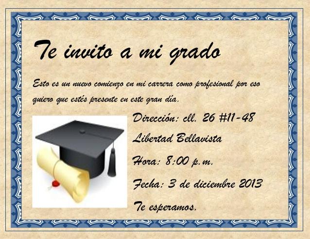 Mensajes para tarjeta de invitación a grado - Imagui