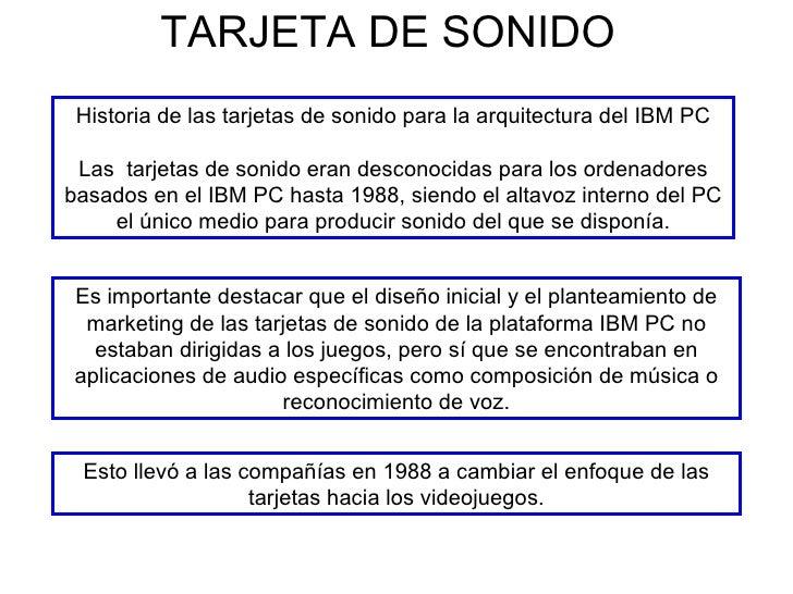 TARJETA DE SONIDO Historia de las tarjetas de sonido para la arquitectura del IBM PC Las  tarjetas de sonido eran desconoc...