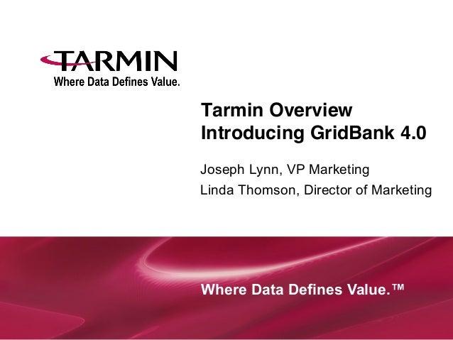 Tarmin Overview Introducing GridBank 4.0 Joseph Lynn, VP Marketing Linda Thomson, Director of Marketing  Where Data Defi...