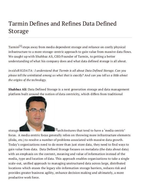 Tarmin Defines and Refines Data Defined Storage