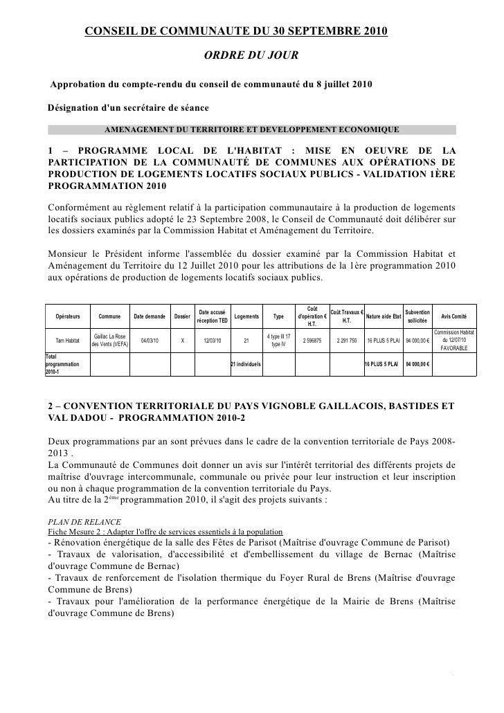 CONSEIL DE COMMUNAUTE DU 30 SEPTEMBRE 2010                                                                  ORDRE DU JOUR ...