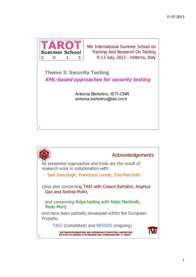 TAROT2013 Testing School - Antonia Bertolino presentation
