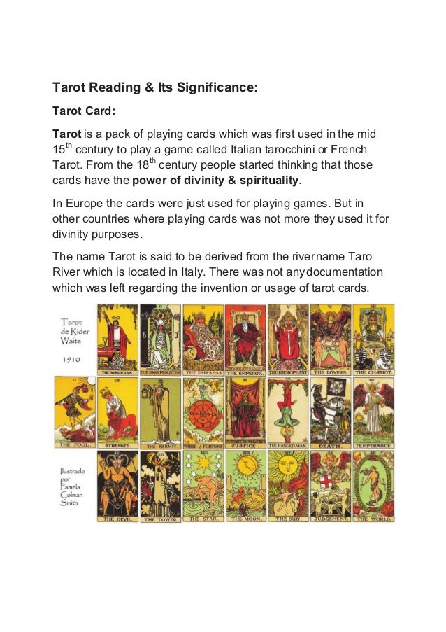 Tarot reading & its significance