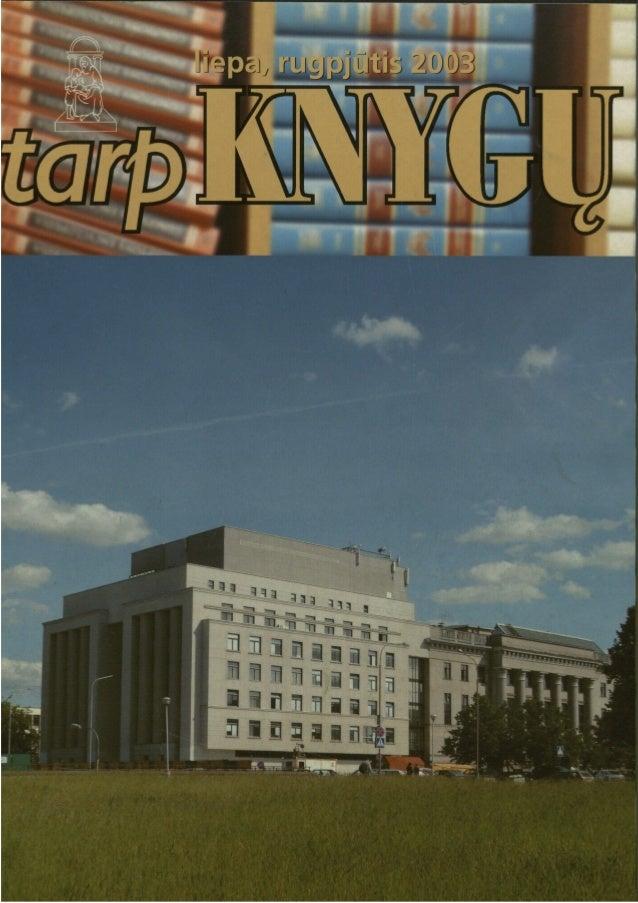 """Žurnalas """"Tarp knygų"""" 2003 liepa-rugpjūtis"""