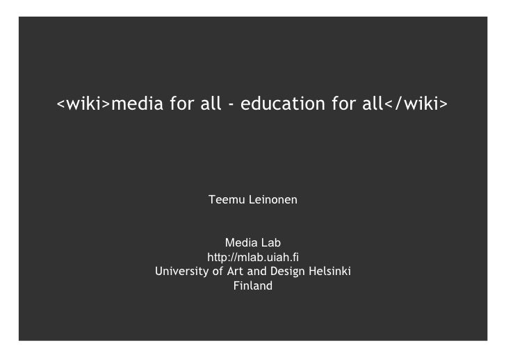 media for all - education for all
