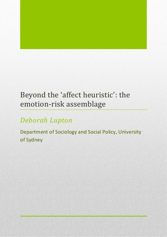 Beyond the 'affect heuristic': the emotion-risk assemblage