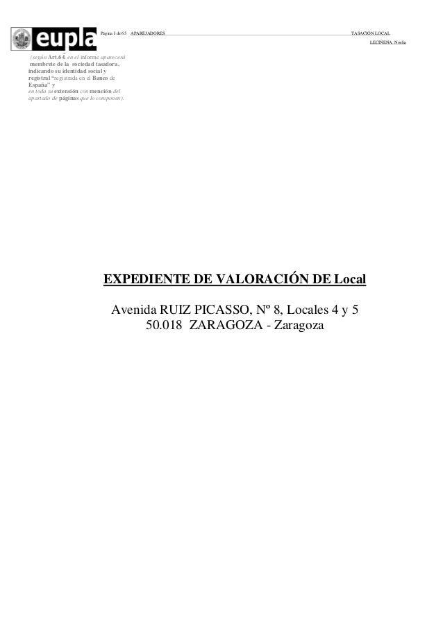 Página I de 65  APAREJADORES  TASACIÓN LOCAL LECIÑENA. Noelia  _  (según Art.64, en el informe aparecerá membrete de la so...