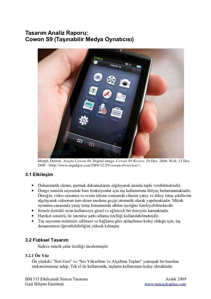 Tasarım Analiz Raporu: Cowon S9 Medya Oynatıcısı