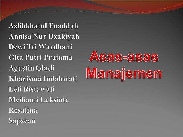 T asas asas manajemen