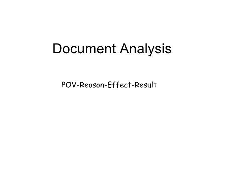 Document Analysis POV-Reason-Effect-Result