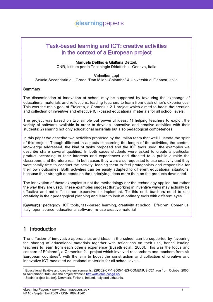 Task-based learning and ICT: creative activities in the context of a European project