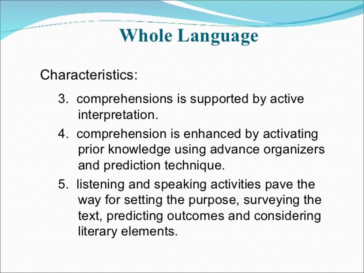 phonics vs whole language teaching Teaching reading: whole language and phonics the examples and perspective in this article may not represent a worldwide view of the subject you may improve this.