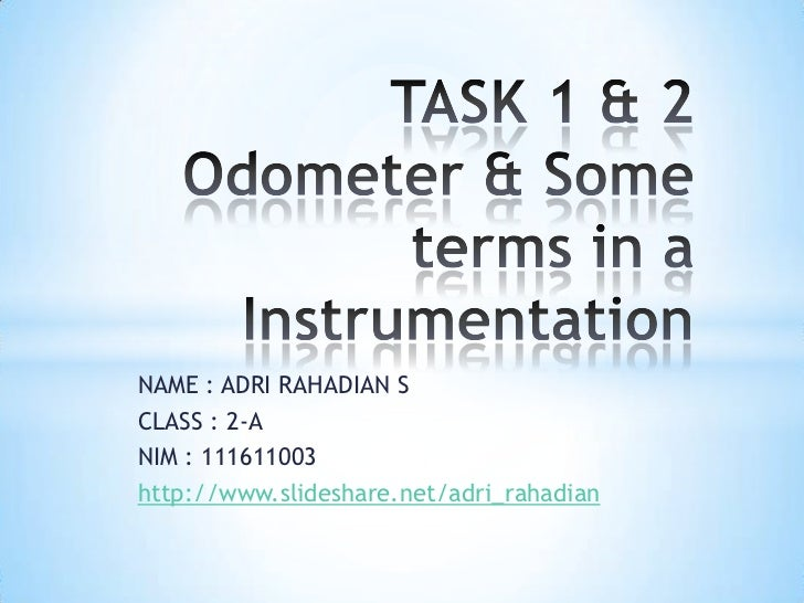 odometer & some terms in a instrumentation