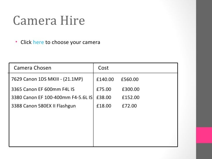 Camera Hire • Click here to choose your camera Camera Chosen                     Cost7629 Canon 1DS MKIII - (21.1MP)   £14...