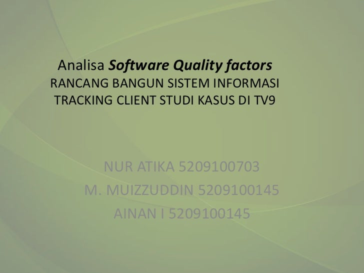 Analisa Software Quality factors