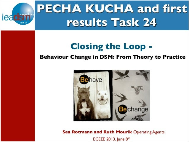 Subtasks of Task XXIV PECHA KUCHA and first results Task 24 Sea Rotmann and Ruth Mourik Operating Agents ECEEE 2013, June 8...