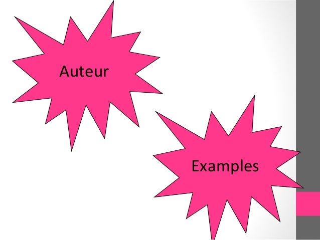 Auteur         Examples