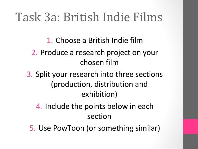 Task 3a: British Indie Films1. Choose a British Indie film2. Produce a research project on yourchosen film3. Split your re...