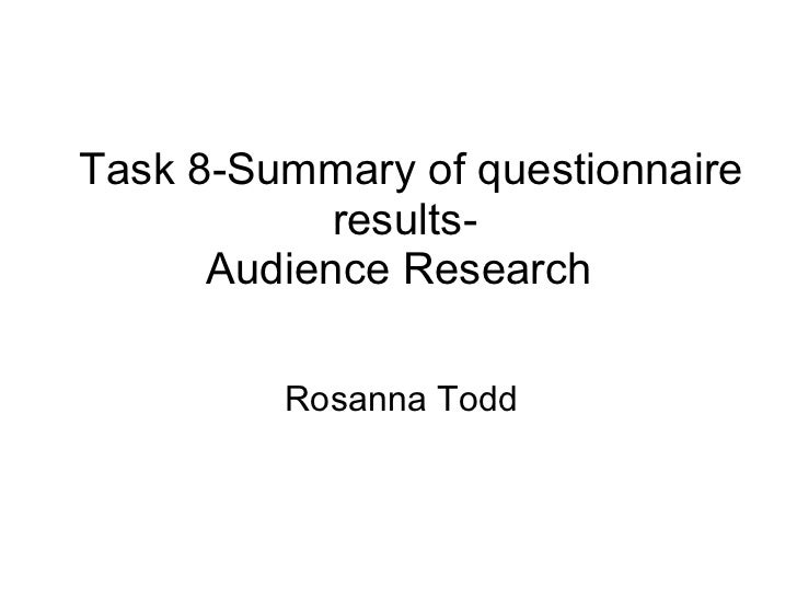 Task 8 summary of questionnaire results-