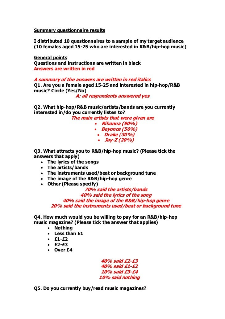 Summary questionnaire resultsI distributed 10 questionnaires to a sample of my target audience(10 females aged 15-25 who a...