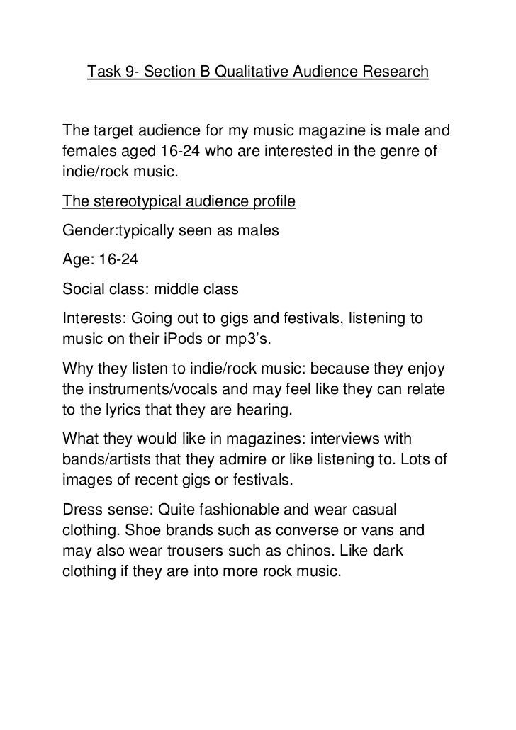 Task 9- Section B Qualitative Audience ResearchThe target audience for my music magazine is male andfemales aged 16-24 who...