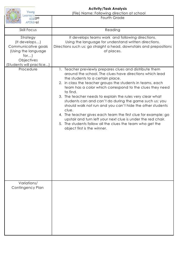 Activity/Task Analysis                                         (File) Name: Following direction at school       Suitable A...