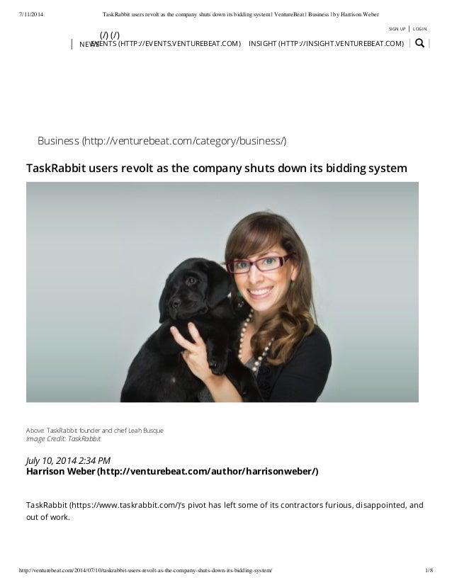 TaskRabbit users revolt as the company shuts down its bidding system (Version 1)