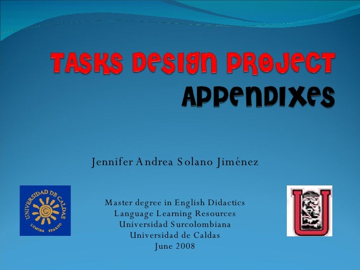 Tasks Design Project Slides appendixes