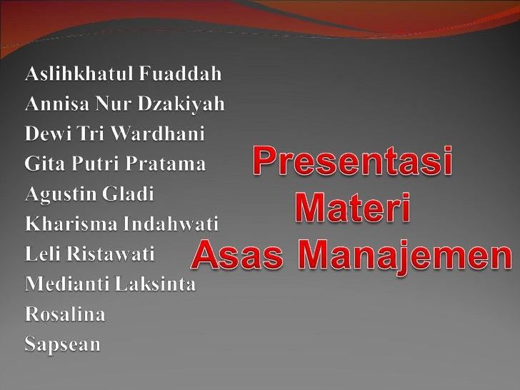 Materi Asas-asas Manajemen
