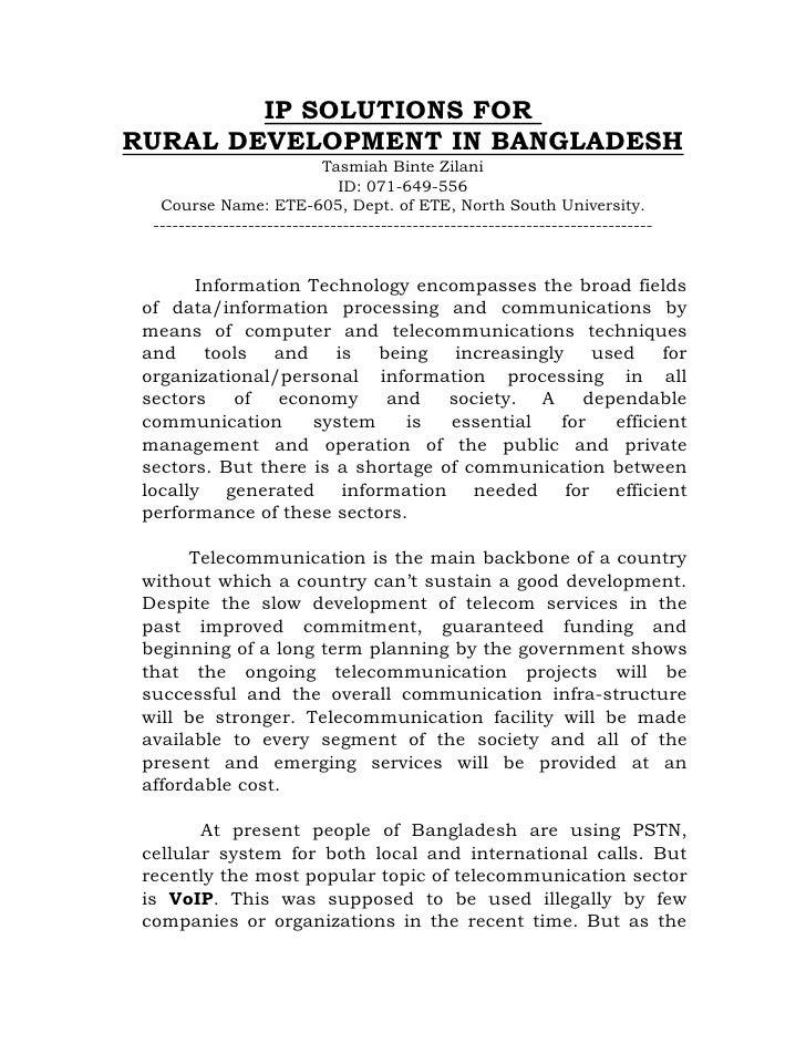 IP SOLUTIONS FOR RURAL DEVELOPMENT IN BANGLADESH                              Tasmiah Binte Zilani                        ...