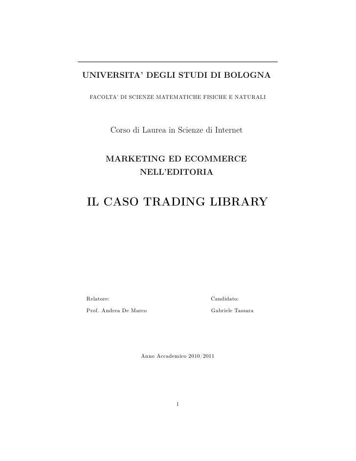 UNIVERSITA' DEGLI STUDI DI BOLOGNA FACOLTA' DI SCIENZE MATEMATICHE FISICHE E NATURALI            Corso di Laurea in Scienz...