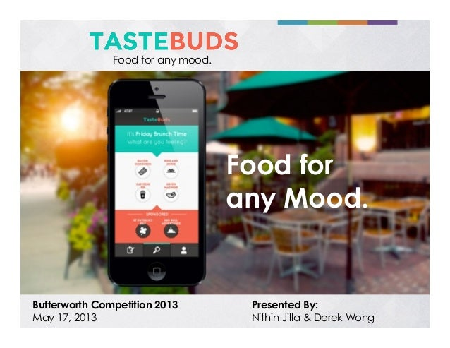 Food for any mood.  Food for any Mood.  Butterworth Competition 2013 May 17, 2013  Presented By: Nithin Jilla & Derek Wong