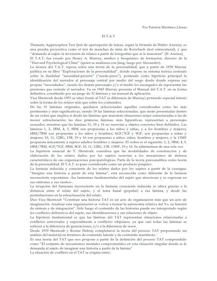 Por Patricia Martínez Llenas                                                El T.A.T  Thematic Apperception Test (test de ...