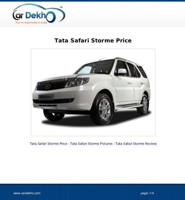 Tata Safari Storme Price 17Oct2012