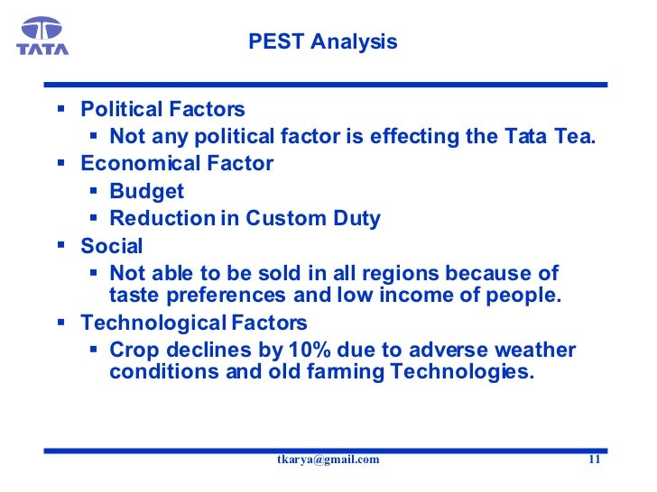 tata tea pest analysis Toyota pestel analysis involves due to the high inflation in india the sales of korea's hyundai and india's own tata this entry was posted in pest.