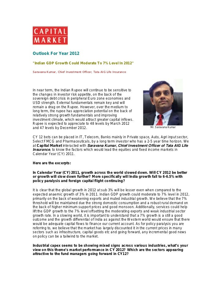 "Outlook For Year 2012""Indian GDP Growth Could Moderate To 7% Level In 2012""Saravana Kumar, Chief Investment Officer, Tata ..."