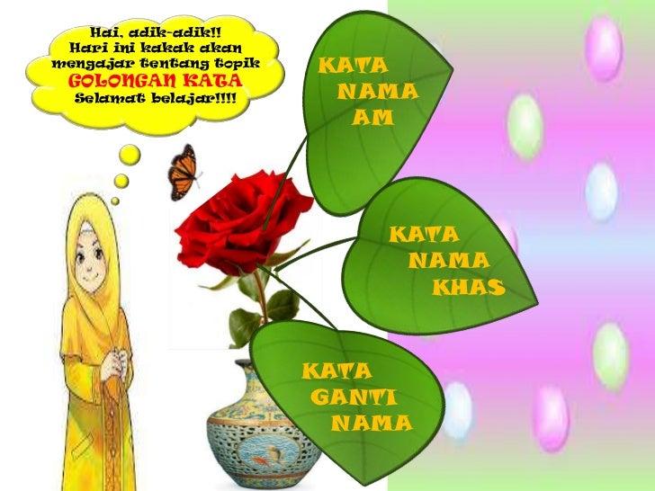 Hai, adik-adik!! Hari ini kakak akanmengajar tentang topik   KATA GOLONGAN KATA  Selamat belajar!!!!     NAMA             ...