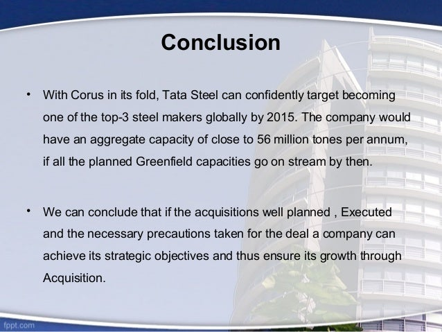 tata steel and corus merger case Corus (18 mt)-tata steel (44 mt) january 30-31, 2007 - panel on takeovers and mergers auctions corus shares, with tata outbidding csn at 608 vs 603 mittal steel's acquisition of arcelor and tata steel's acquisition of corus.