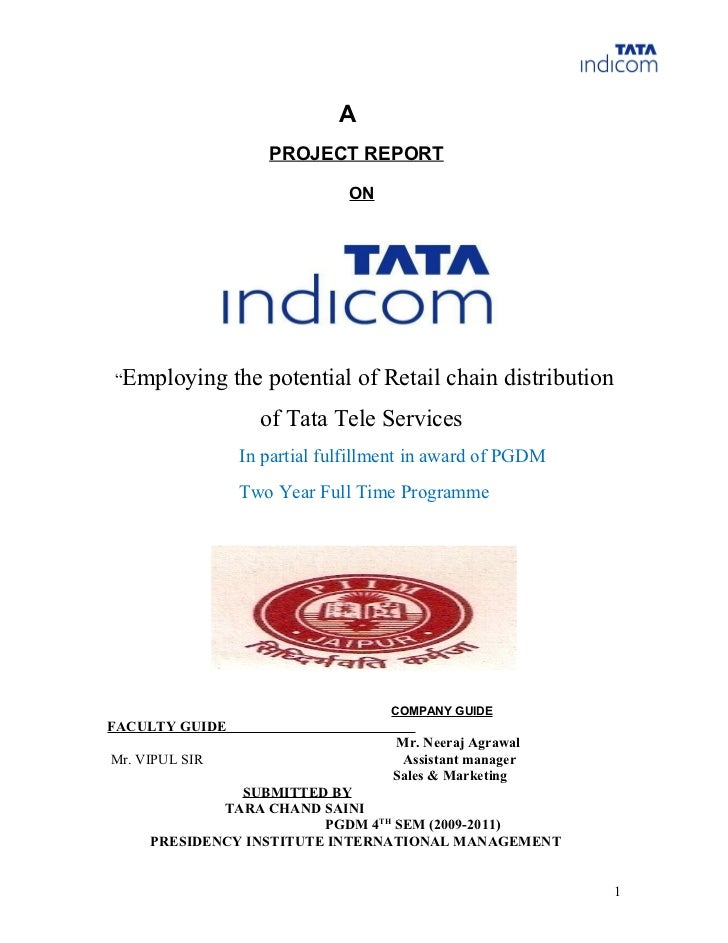 "A                   PROJECT REPORT                             ON""Employing      the potential of Retail chain distributio..."