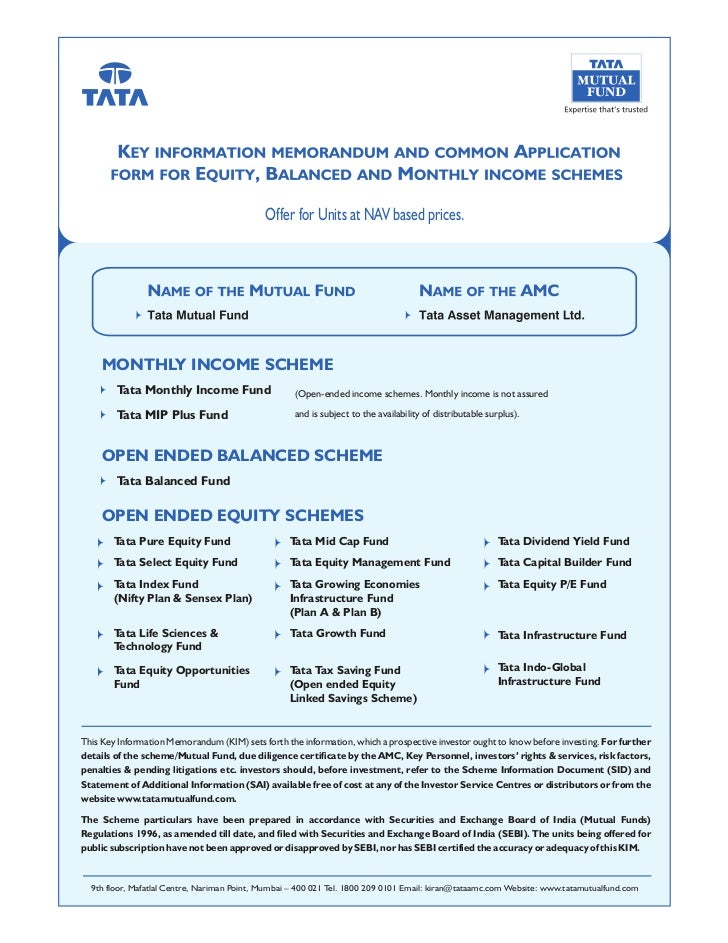 Offer for Units at NAV based prices.     MONTHLY INCOME SCHEME        Tata Monthly Income Fund                    (Open-en...
