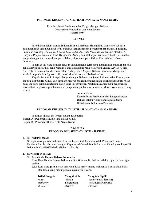 PEDOMAN KHUSUS TATA ISTILAH DAN TATA NAMA KIMIA                    Penerbit: Pusat Pembinaan dan Pengembangan Bahasa      ...