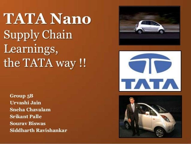 TATA Nano Supply Chain Learnings, the TATA way !! Group 5B Urvashi Jain Sneha Chavalam Srikant Palle Sourav Biswas Siddhar...